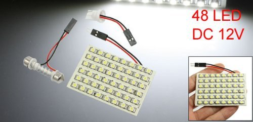 Amazon.com: eDealMax vehículo Blanca 1210 Bombilla 48 SMD LED w adaptador de Adorno T10: Automotive