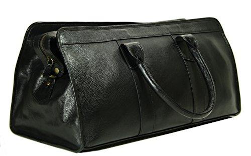 Top Grain Calf Leather 20'' Weekender Overnight Travel Duffel in Black by Leftover Studio by Leftover Studio (Image #3)