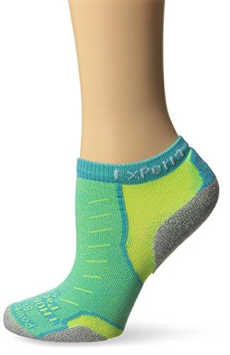 Thorlo Experia Micro-Mini Crew Sock, Turquoise/Yellow, S (Women's: 7-9, Men's: 6-8)