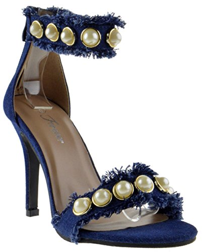 Forever Link Quince 17 Womens Pearl Distressed Denim Open Toe Stiletto Heel Sandals Dark Blue hqq1qAt