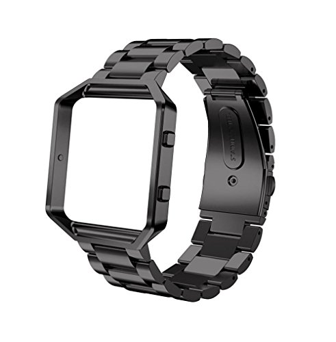 For Fitbit Blaze Accessory Bands Large,Oitom Frame Housing+Stainless steel Bracelet Replacement Strap Watch Band for Fitbit Blaze Smart Fitness Watch (Black Steel+Frame) by Oitom (Image #1)