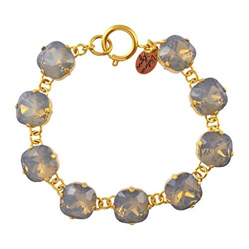 Light Grey Opal Swarovski Crystal - Victoria Lynn Rounded Square Tennis Bracelet with Grey Opal Swarovski Crystal, Gold Plated