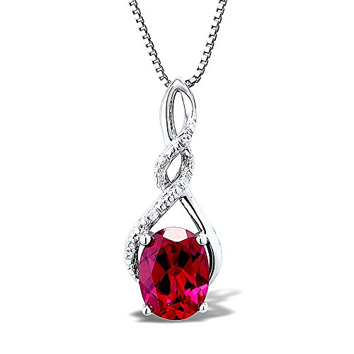 Sterling Silver Lab Created Ruby Necklace Diamond Accents - 7/8 Inch Twist Style 8x6 MM Created Ruby 18 Inch Box Chain