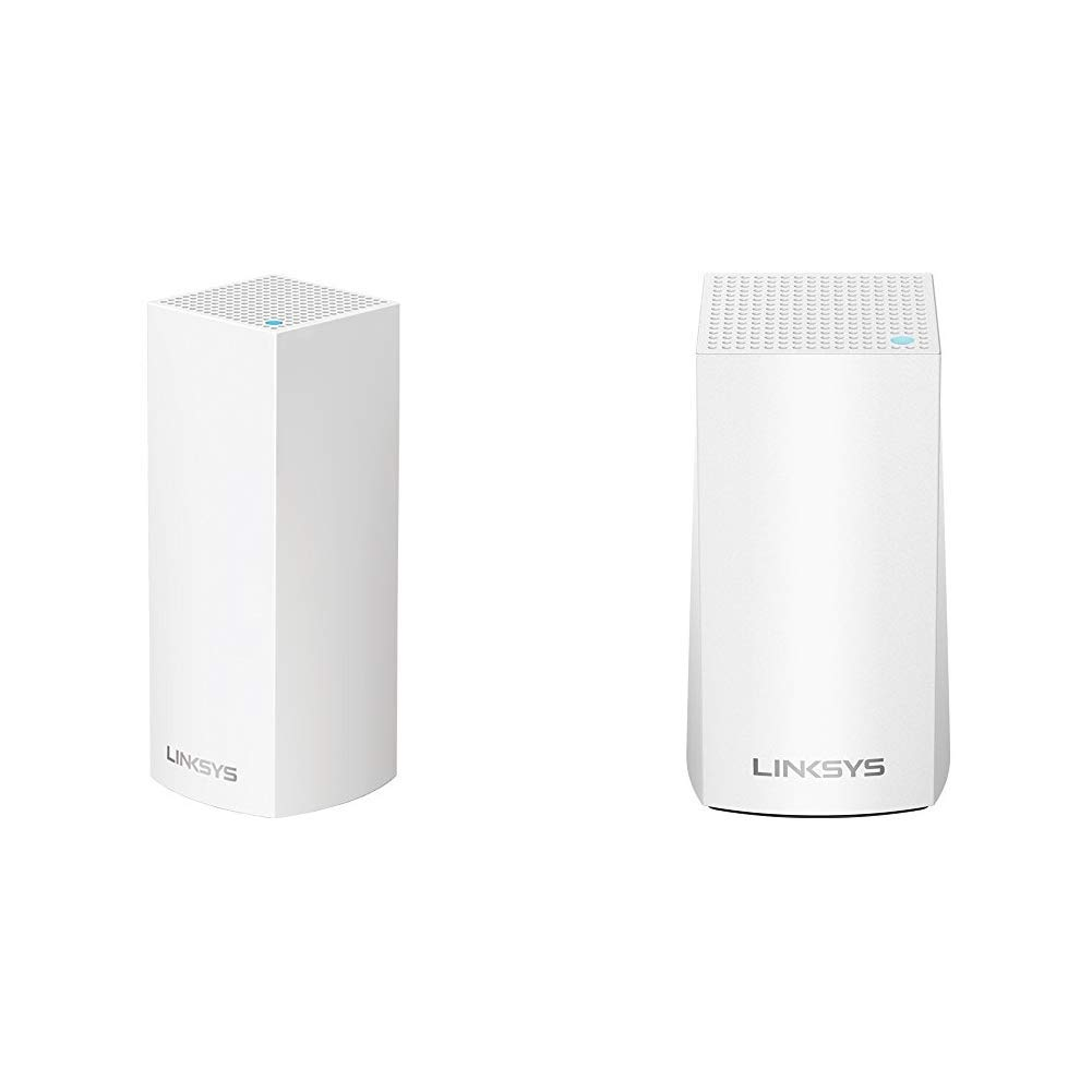 Linksys Velop Tri-Band Home Mesh WiFi System - WiFi Router/WiFi Extender for Whole-Home Mesh Network (1-pack, White) and Velop Home Mesh WiFi System by Linksys