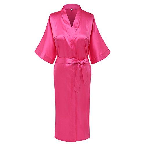 Goodmansam Women's Simplicity Style Nightwear Elegant Kimono Robes, Long,X-Large,Hot Pink3