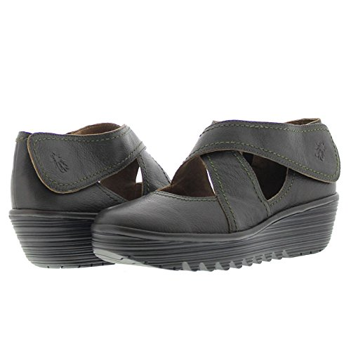 Fly London Womens Rafe657Fly Wedge Grained Soft Leather Shoes Brown