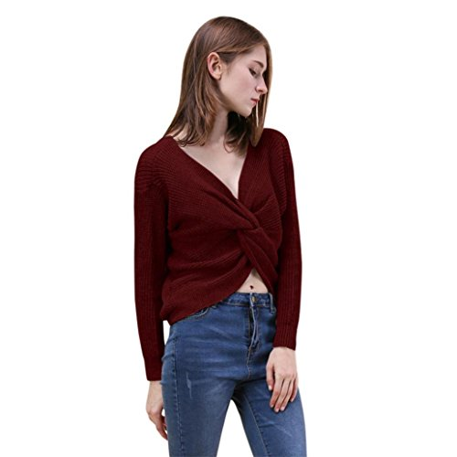 Alimao 1PC Women Twisted Back Sweater Pullovers Long Sleeve Knitted Sweaters Top (Wine Red, S) (Heart Shorts Twisted)