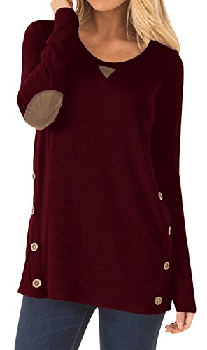 Women's Long Sleeve Casual Tunics Blouse Button Decor Loose Tunics T-Shirt Tops Wine Red XX-Large