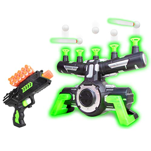 USA Toyz Astroshot Zero GX Glow in The Dark Shooting Games - Target Practice Toys, Space Guns for Boys, Compatible with Nerf Toys (Black and Green)