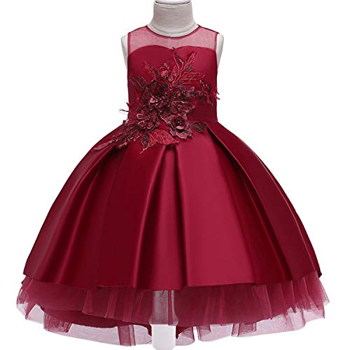 Baby Girls Infant Embroidery Dress Wedding Toddler High-end Dress Flower Dress,D0953-WineRed,10