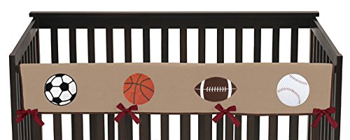 Sweet Jojo Designs All Star Sports Long Front Rail Guard Baby Boy Teething Cover Protector Crib Wrap by Sweet Jojo Designs