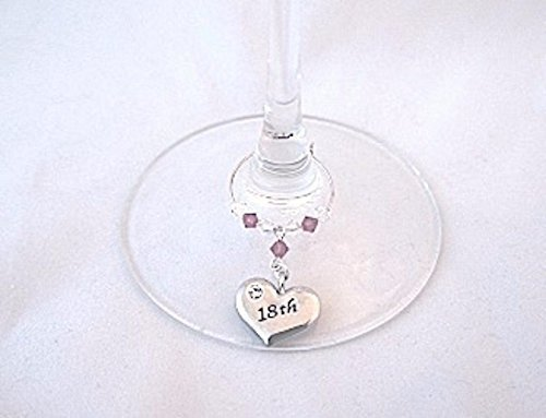 18th Birthday Gifts Wine Glass Charm Gift For Her Silver Heart