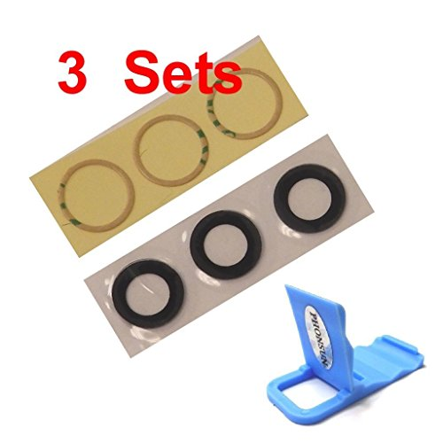 3 x Rear Back Camera Lens True Glass Cover Replacement w Adhesive for Apple iPhone 8 4.7 + PHONSUN Portable Cellphone Holder (iPhone 8)