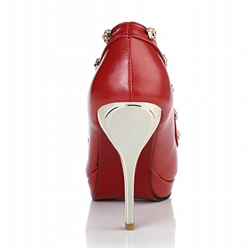 MissSaSa Damen high-heels Plateau Pumps mit Nieten elegant Spitze Partyschuhe Rot