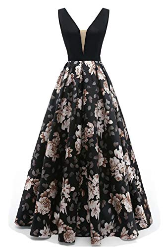 FWVR Floral Print Evening Dresses for Women Formal Long Prom Wedding Party Gowns Black12