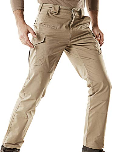 CQR Men's Flex Stretch Tactical Work Outdoor Operator Rip-Stop Trouser Pants EDC, Flexy Cargo(tfp513) - Khaki, 42W/30L