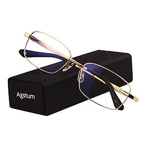 Agstum Titanium Full Rim Glasses Frame Optical Eyeglasses Rxable (Gold, 56)