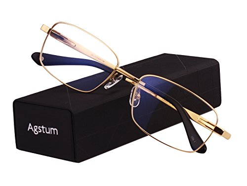Agstum Titanium Full Rim Glasses Frame Optical Eyeglasses Rxable (Gold, - Mens Optical Frames