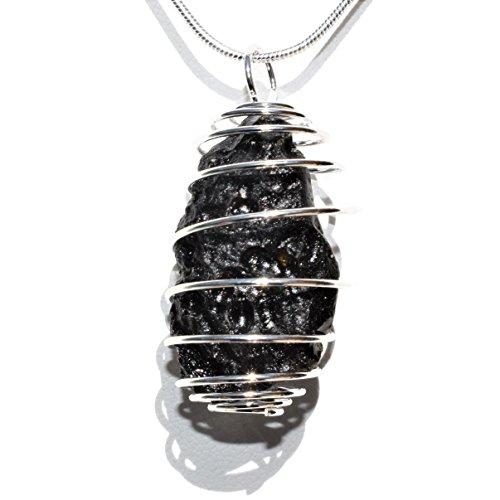 Zenergy Gems Perfect Pendant Charged Natural Tibetan Tektite Specimen Crystal Pendant + 20