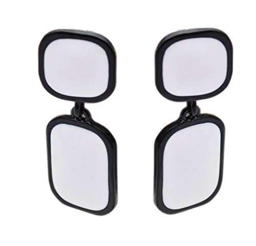 Latigerf Black White Non-Pierced Clip on Double Square Dangle Long Earring Clips for non Pierced Ears Enamel
