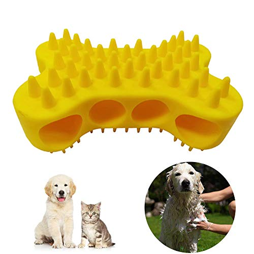 Dog Cat Shedding Grooming Brush for Matted Hair Removal – Silicone 2-in-1 Gentle Grooming Massage and Loose Hair Remover…
