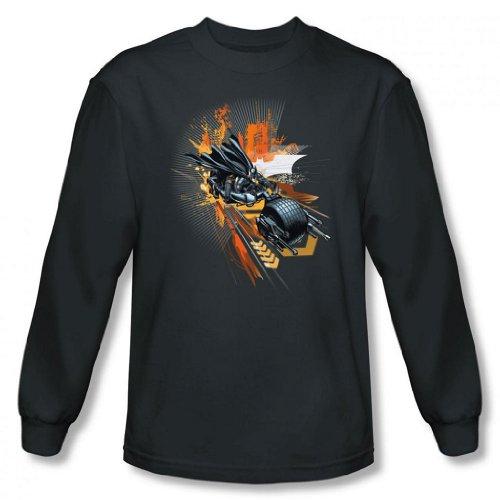 Dark Knight Rises - Batpod Men's Long Sleeve T-Shirt, Charcoal, Large