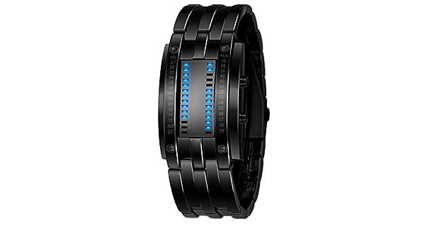 YanHeMingKeJi - Reloj Digital Deportivo para Hombre y Mujer, Color Azul, Luminoso, Binario, LED, Negro, Acero Inoxidable, Estilo Informal, para Amantes, ...