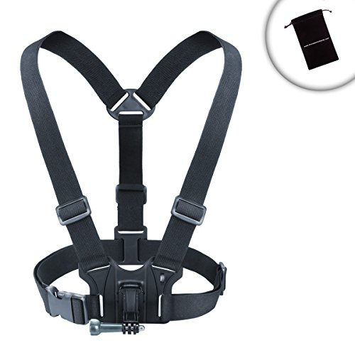 Action Cam Chest Mount Harness with Belt Strap , Comfortable Elastic & Tripod Screw Adapter by USA Gear - Works with Garmin VIRB Ultra 30 , Vivitar Action Camera , Floureon A3 Ultrea HD & More