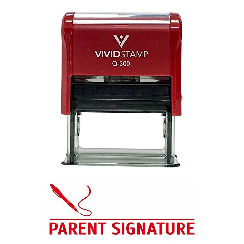 PARENT SIGNATURE Teacher Self Inking Rubber Stamp (Red Ink) - Large