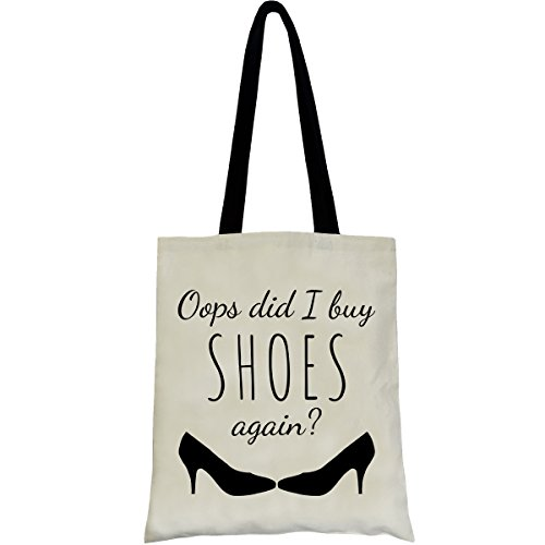 PREMYO Cotton Tote Bag in Natural with Funny Quote and Print. Long Handled Shoulder Bag with Slogan Oops Shoes. Reusable Canvas Shopping Bag. Custom Printed Shopper Bag Book Bag Fashion Bag