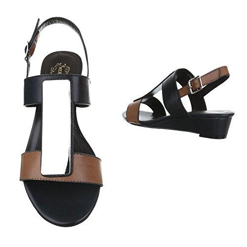 Ital-Design - Sandalias de vestir de Material Sintético para mujer negro blanco