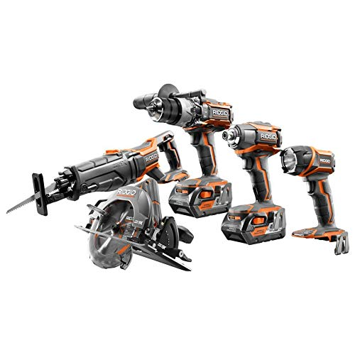 Ridgid ZRR9652 18V 4.0 Ah Cordless Lithium-Ion 5-Piece Combo Kit (Renewed)