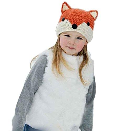 DaySeventh Baby Wool Knitted Fox Hats Baby Kid Children Hooded Caps (2-9 Years, Orange) (Kids Graduation Hat)