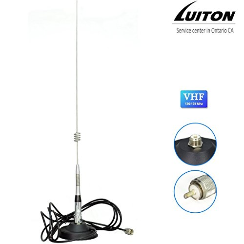 Luiton Mobile Radio Antenna 27 Inch VHF(136~174 MHz) Whip Base-load Magnetic Antenna for Luiton, Baofeng,BTECH Anytone Kenwood TYT Juentai Leixen Radioddity Mobile Radios(2 Meter & 70cm)