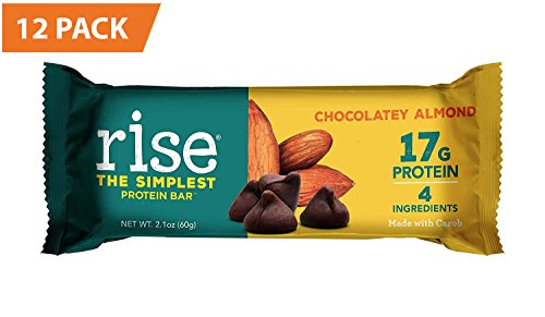 Rise Bar Non-GMO, Gluten Free, Soy Free, Real Whole Food, Whey Protein Bar (17g), No Added Sugar, Chocolatey Almond High Protein Bar with Fiber, Potassium, Vitamins & Nutrients 2.1oz, (12 (Performance Rise)