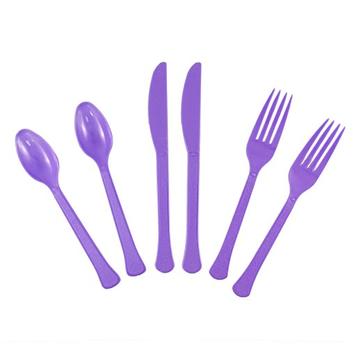 Purple Cutlery (JAM Paper Premium Extra Heavy Weight Cutlery - Assorted Utensils Set - Forks, Knives & Spoons - Light Purple - 24 Disposable Utensils/Box)