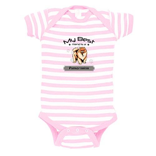 POMERANIAN DOG My Best Friend is Baby Kid Stripe Fine Jersey Bodysuit Soft Pink 6 Months (Friend Infant Bodysuit Best)