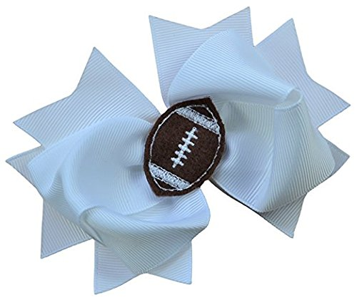 Girls Football Hair Bow 4.5 Inch Embroidered Football Team Hair Bow (White Bow with Brown Ball) (Bow Girls Football)