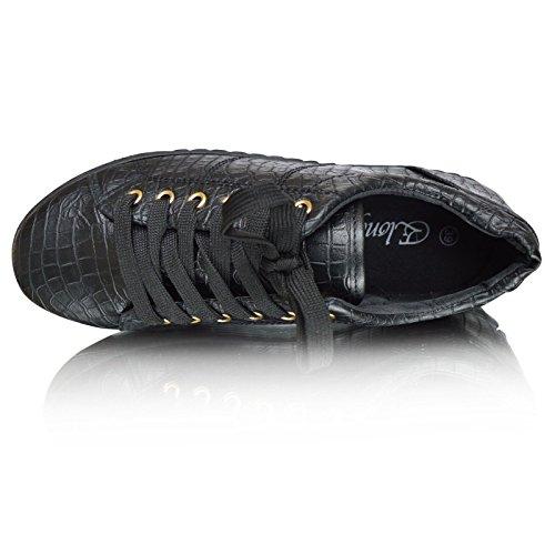 Plat Floral Lacet Crocodile Baskets Chaussures Confortable Xelay Décontracté Noir Plates Femmes EwCnxqaA