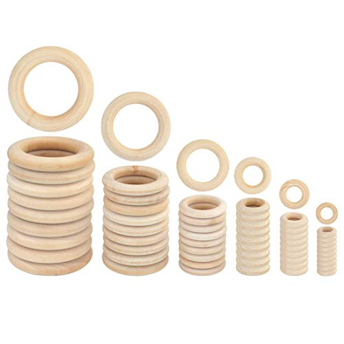 Yolyoo 60pcs Natural Wood Rings for DIY Craft, Ring Pendant and Connectors Jewelry Making, 6 Size]()