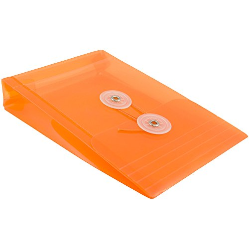 JAM PAPER Plastic Envelopes with Button & String Tie Closure - 4 1/4 x 6 1/4 - Orange - 12/Pack by JAM Paper (Image #3)