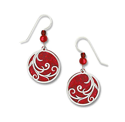 Adajio by Sienna Sky Bright Red Disc Polished Overlay Sterling Silver Earrings 7458