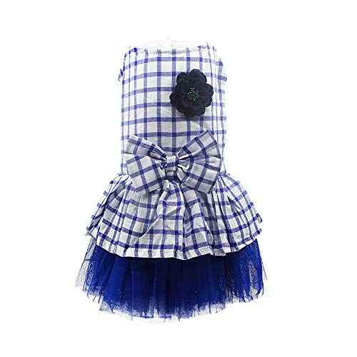 YAODHOAD Small Dogs Tutu Dress, Printed Princess Skirt, Elegant Lace Plaid Dog Dress Dog Lace Skirt, Teddy Dog Clothes
