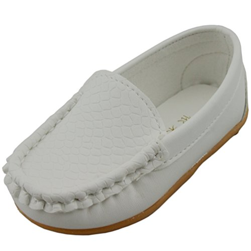 DADAWEN Boy's Girl's Slip-on Loafers Oxford Shoes White US Size 13 M Little Kid