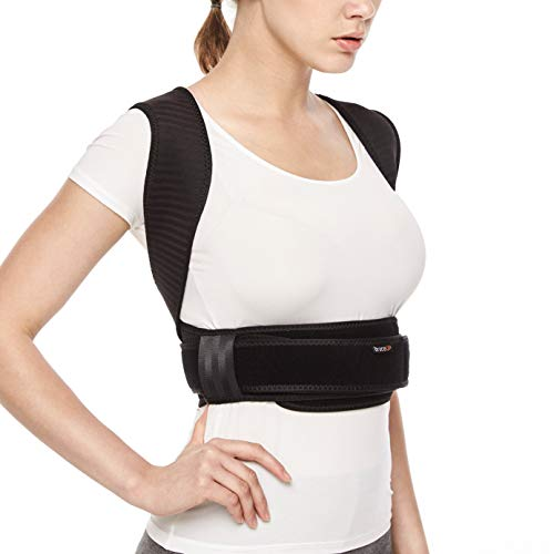 BraceUP® Deluxe Adjustable Posture Corrector and Clavicle Support Brace to Improve Bad Posture, Upper Back Pain Relief and Shoulder Alignment (S/M)