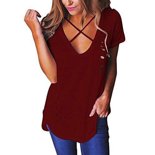 Col Chemise Unique Rouge t Casual Chemisier Courtes Confortable Tops V Tunique Criss Chemise Doux Croix Femme Hibote Manches Vin Tshirt Dtruit wPx6F11f