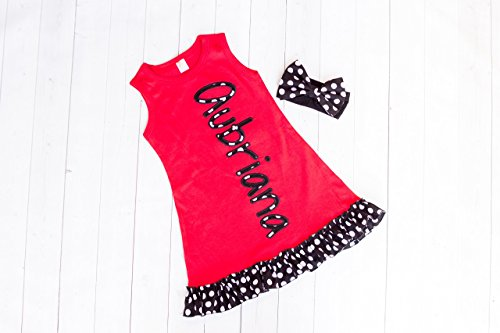Girl's Red Personalized Ruffle Dress by Thready Teddy Embroidery - Black and White Polka Dot Monogram - Custom Swimming Cover - Embroidered Beach Wear - Cute Name Summer Spring (Personalized Toddler Dress)