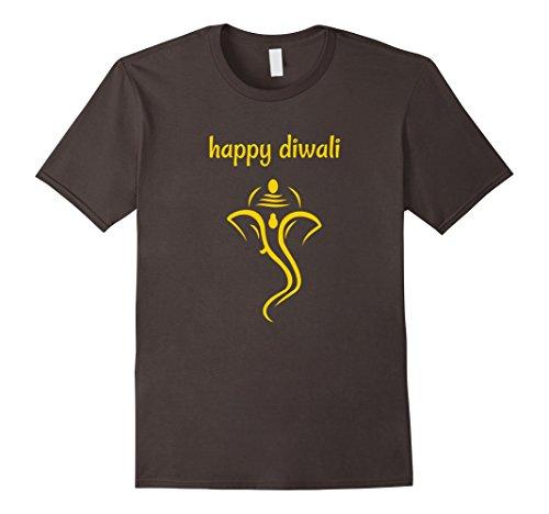 Mens Happy Diwali T-Shirt with Lord Ganesha Medium Asphalt by Happy Diwali T-Shirts 2017