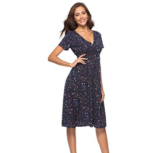 Dress Holiday Floral Neck Summer V Party Beach NREALY Womens Navy Ladies Dress Print Falda gwXqwIt0