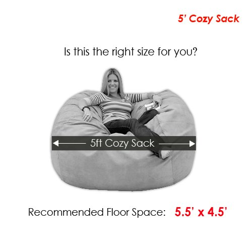 Cozy Sack 5-Feet Bean Bag Chair, Large, Hot Pink